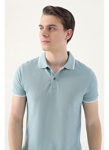 D'S Damat Slim Fit Pike Dokulu T-Shirt Yeşil